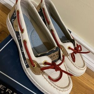 Sperrys Laguna Linen in White, Red and Navy